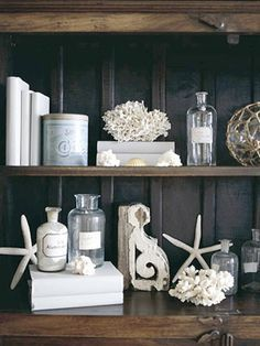 decorating bookshelves neutral coastal - Google Search