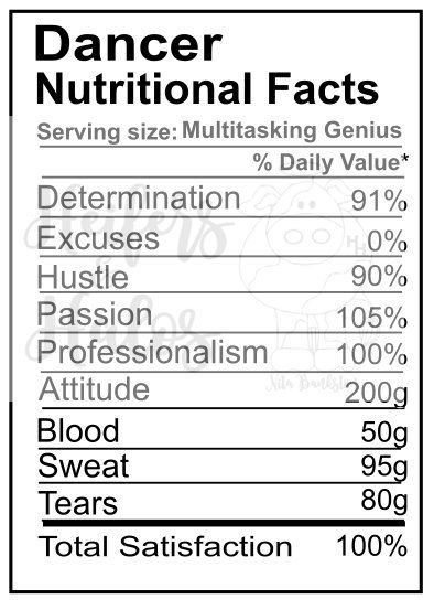 Dancer Nutritional Facts By Heifersandhalostx On Etsy Nutrition Facts Nutrition Facts