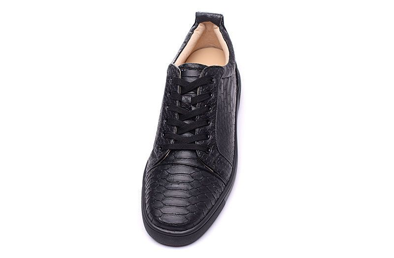 2930f3a7847 Christian Louboutin Rantulow Mens Flat Python Leather Low Top Sneakers Black