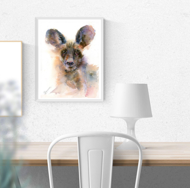 Hyena painting Original Watercolor wall art decor Wild