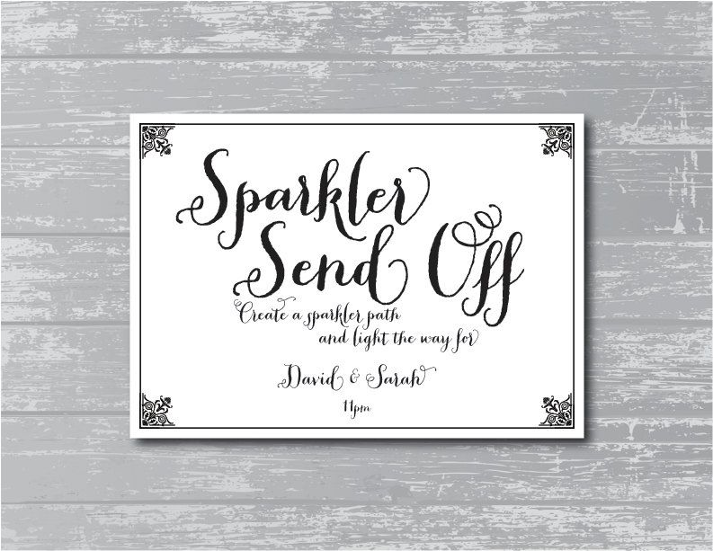 Custom Sparkler Send Off Sign Black And White Wedding