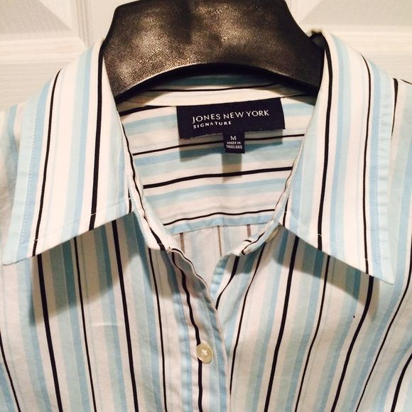 "Jones NY striped blouse Classic 3/4 sleeved white blouse with blue and black stripes. 100% cotton with some stretch. Bust 20"", length 25"", curved bottom so you can wear it untucked. Jones New York Tops Button Down Shirts"