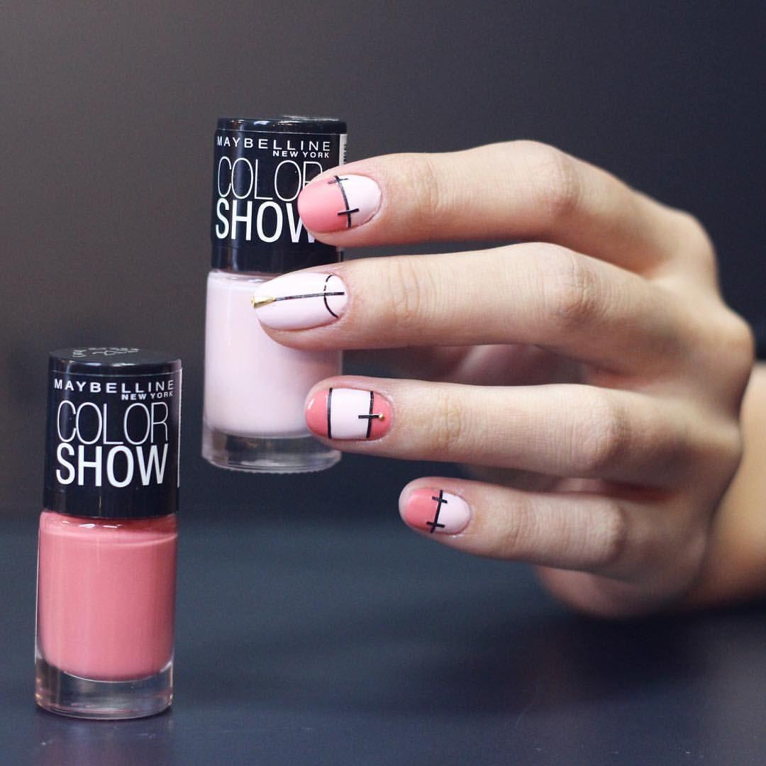 Nail Unistella by EK . Lab — [#유니스텔라매거진] 핑크컬러와 블랙라인으로 디자인한 매듭네일아트 예쁘죠?...