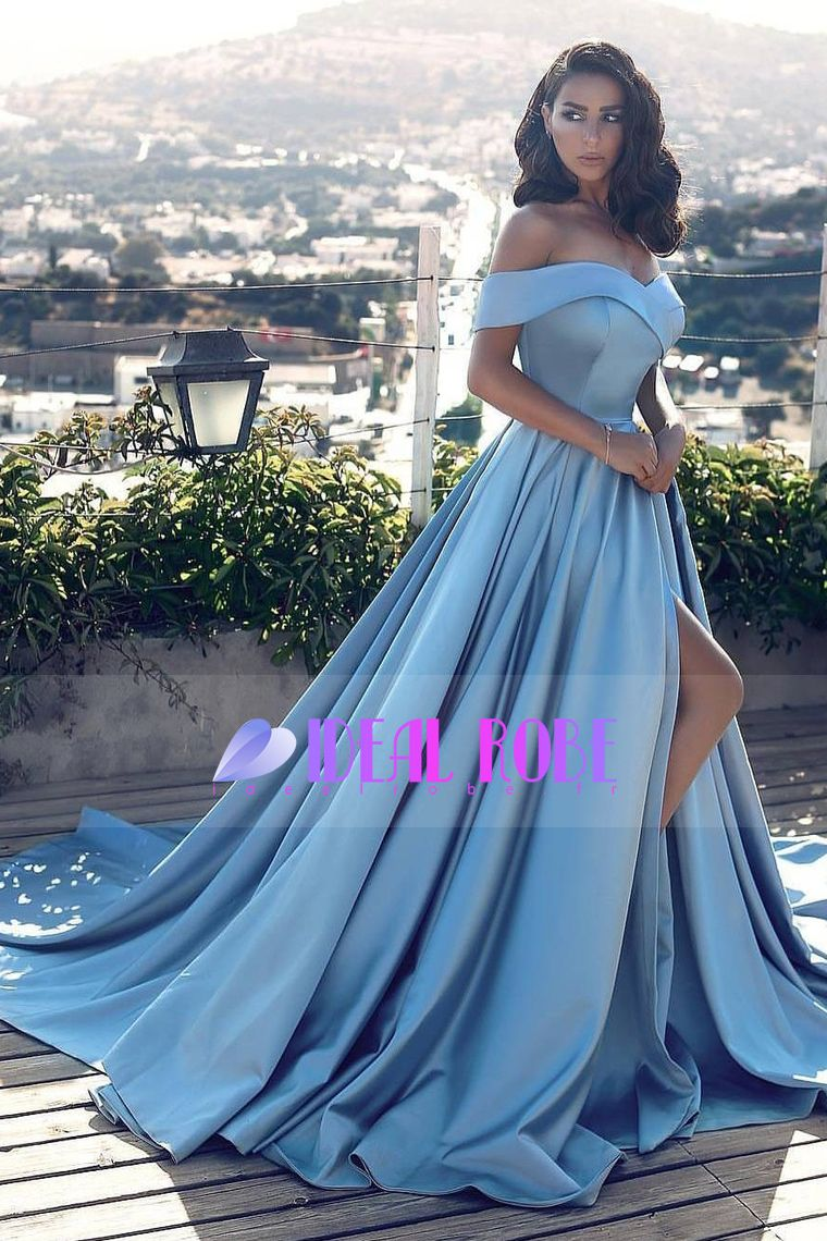 a line off the shoulder prom robes satin with slit uac