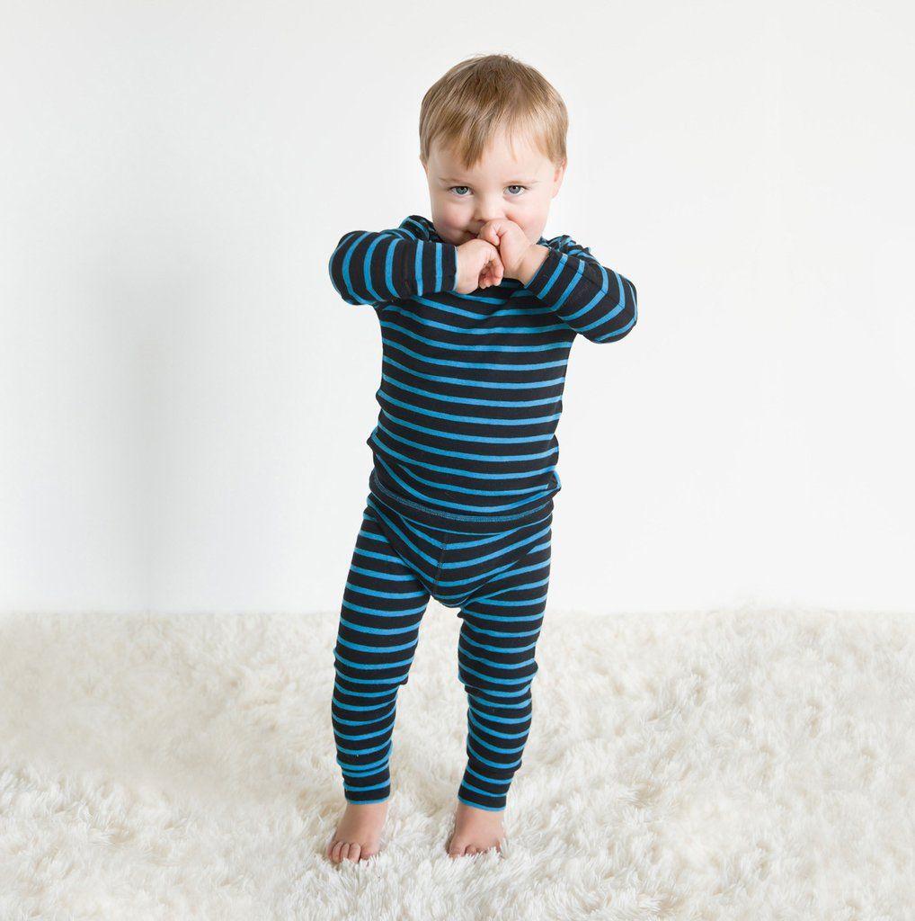 Linzi Merino Black and Blue Stripe Thermal Long Johns