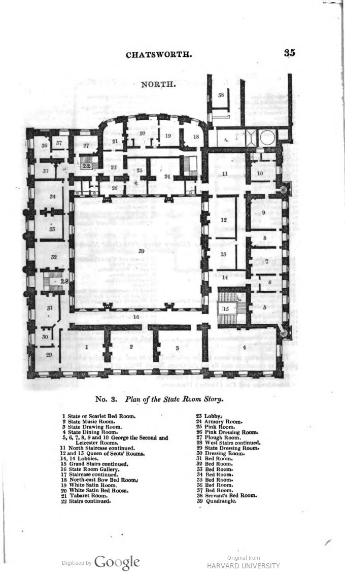 Chatsworth House Second Floor Plan Mid Xix Century