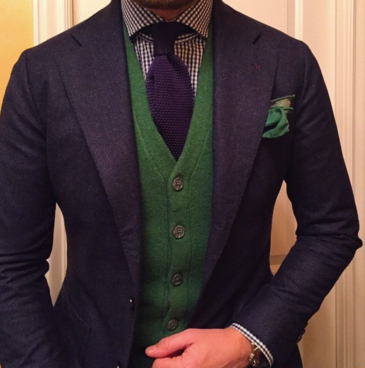 Green + Blue Combo. Navy jacket with green vest, navy knitted tie, green