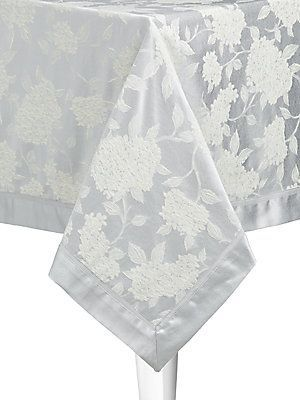 """Waterford Hydrangea Tablecloth/84"""" - Platinum - Size No Size"""
