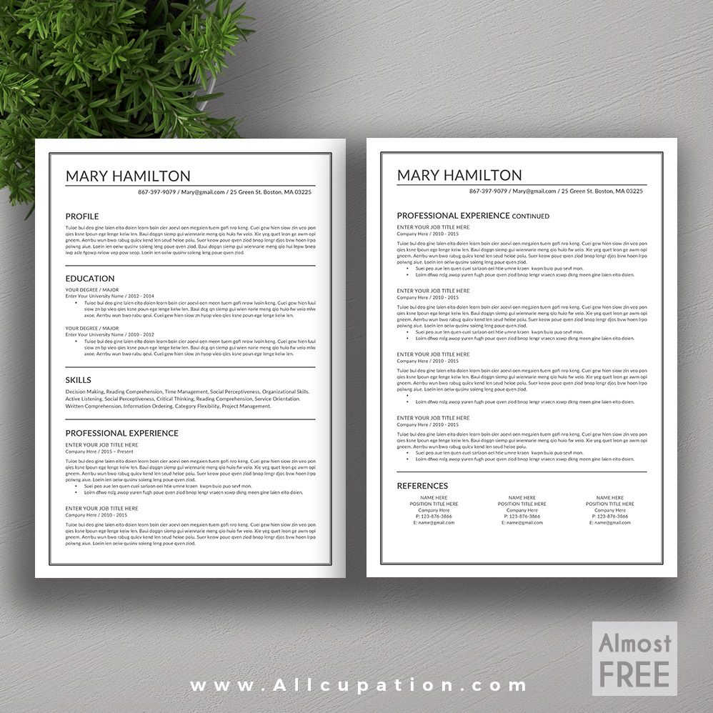 @allcupation FREE Or Almost FREE Professional Resume