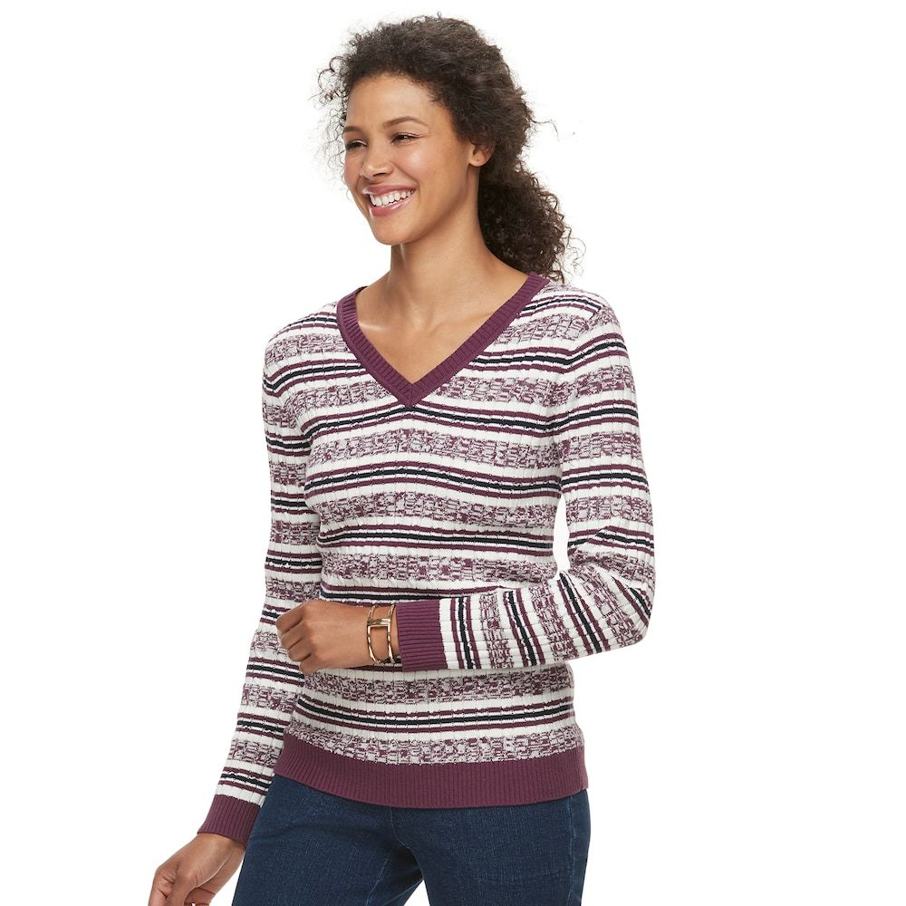 Women s Croft   Barrow® Essential Cable Knit V-Neck Sweater 8fb61be89