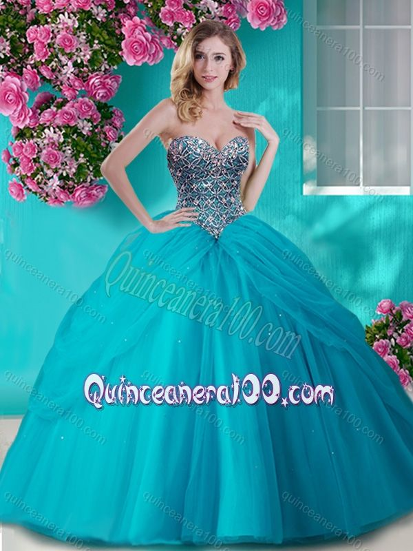 40d6a2fe08c Gorgeous Beaded and Rhinestoned Big Puffy Quinceanera Dress in Blue -  Quinceanera 100