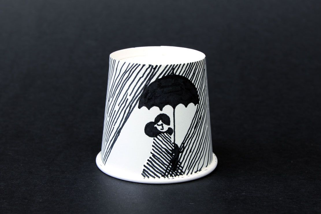 drawings on paper cups.