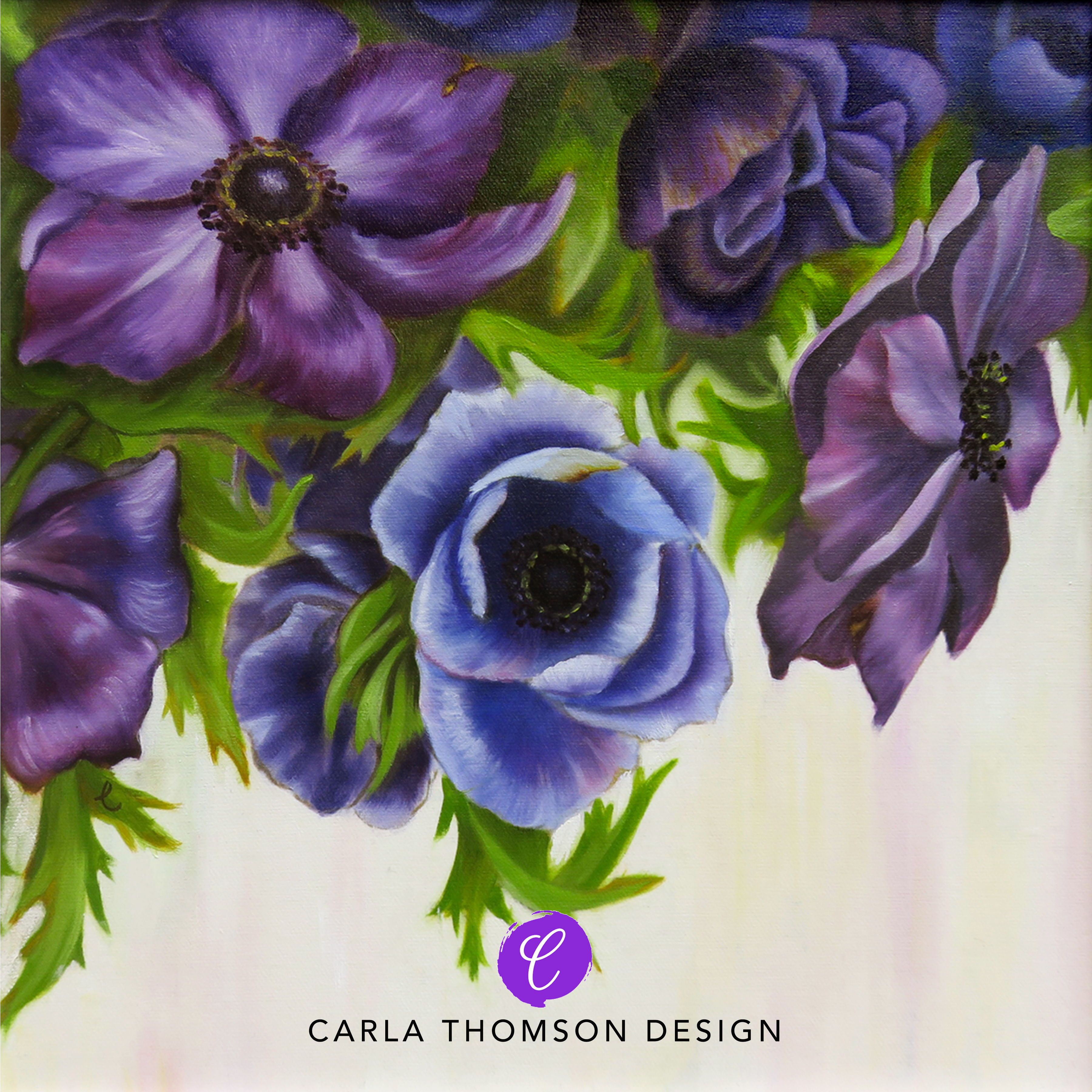 One In A Set Of Two Original Art Oil Painting Anemone Flowers In Blue Purple White And Green On Canvas Framed Wall Floral Painting Flower Painting Floral Art