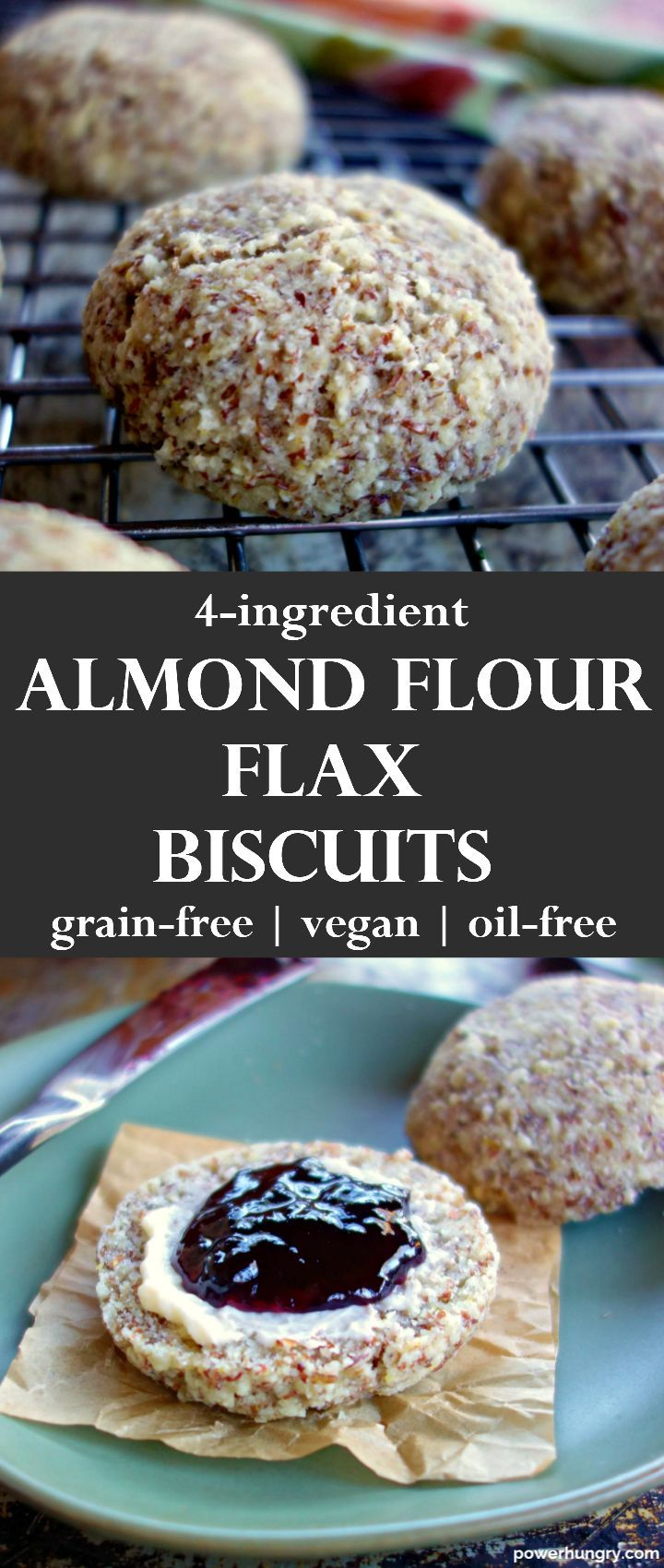 4-Ingredient Almond-Flax Biscuits {Grain-Free, Oil-Free,Vegan}