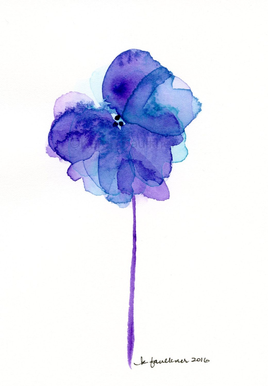 original watercolor painting of a purple with aqua