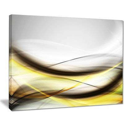 """DesignArt 'Abstract Golden Waves' Graphic Art on Wrapped Canvas Size: 30"""" H x 40"""" W x 1"""" D"""
