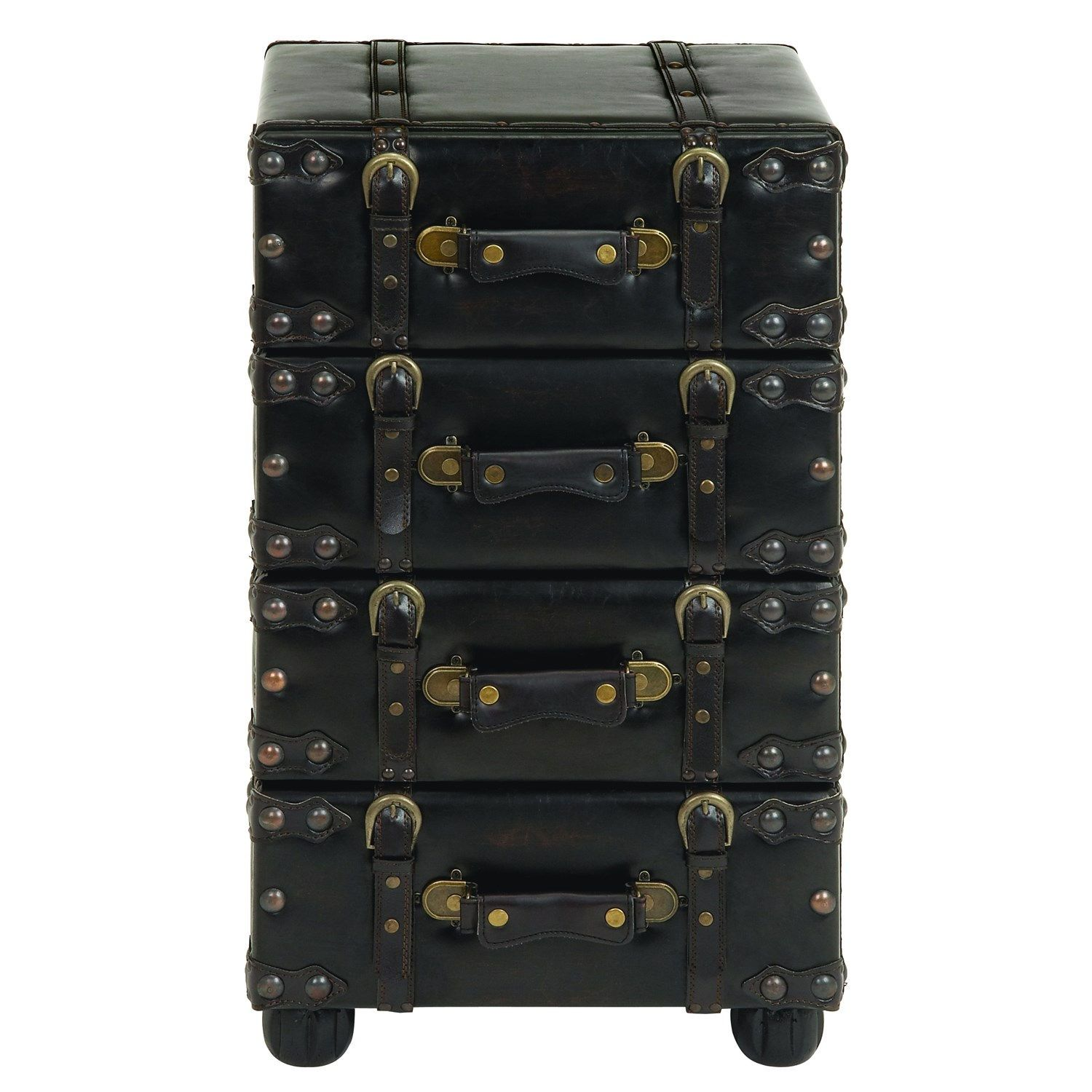 Woodland Imports 74477 Wood Leather Side Chest With Dark Brown Tone
