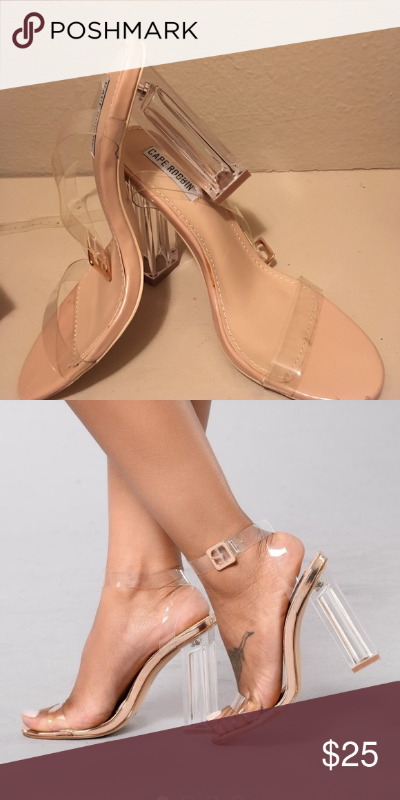 Heels Fashion nova rose gold glass slipper heel does not