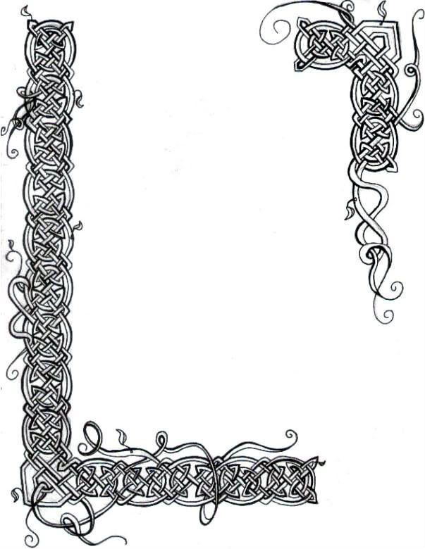 Illuminated manuscript borders vines celtic knot