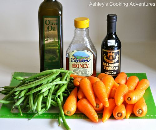 Honey Balsamic Glased Roasted Carrots And Green Beans
