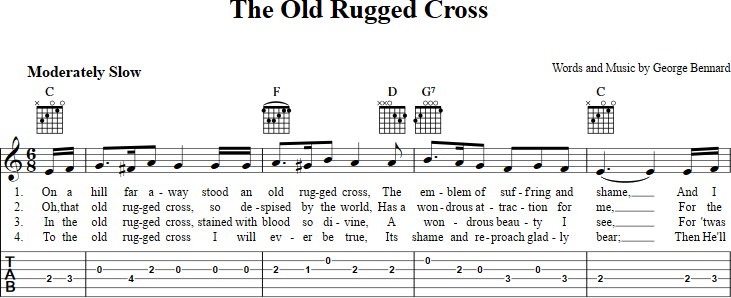 The Old Rugged Cross sheet music for guitar with chords, lyrics, and ...