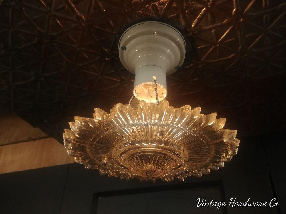 Vintage 3 Chain Art Deco Hanging Light Fixture Chandelier Sunburst Glass Shade Light Fixtures Light Vintage Art Deco