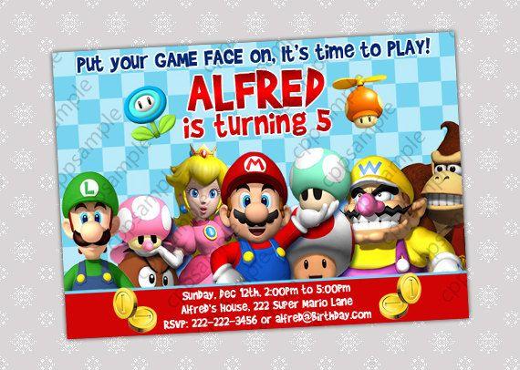Super Mario Bros Birthday Party Invitation Por Creativepartypixels