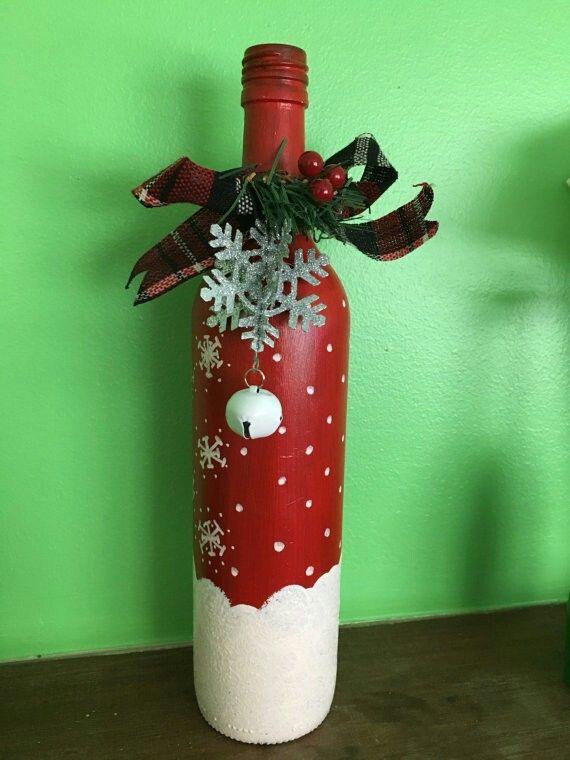 Botella decorada navidad for Botellas de vidrio decoradas para navidad