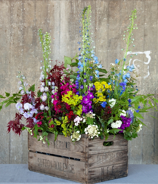 Floral Arrangement in Wooden Crate-- Charming for a Rustic Wedding!