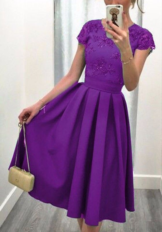 Purple Patchwork Pleated Bright Wire Backless Round Neck Midi Dress