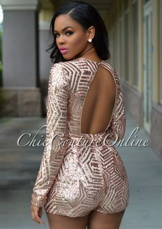 bb0b796e4766 Chic Couture Online - Morris Rose Gold Sequins Plunging V-Neck Romper