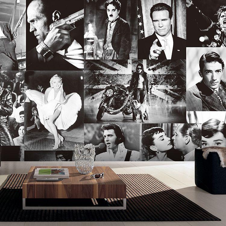 Günstige Freies Verschiffen retro retro stil sterne schwarz und weiß - tapeten wohnzimmer