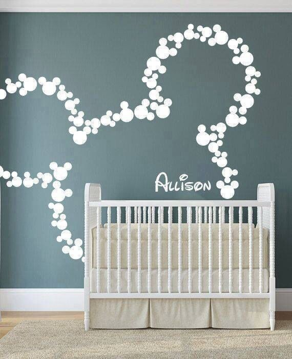 Do i have to have a kid? can i do this in my room? Mickey Mouse Wall Decal Art Decor Baby Name Wall Decals Art Decor Letters Bagger~ your future baby room! & Wall decorating   Munchkin room   Pinterest   Decorating Walls and ...