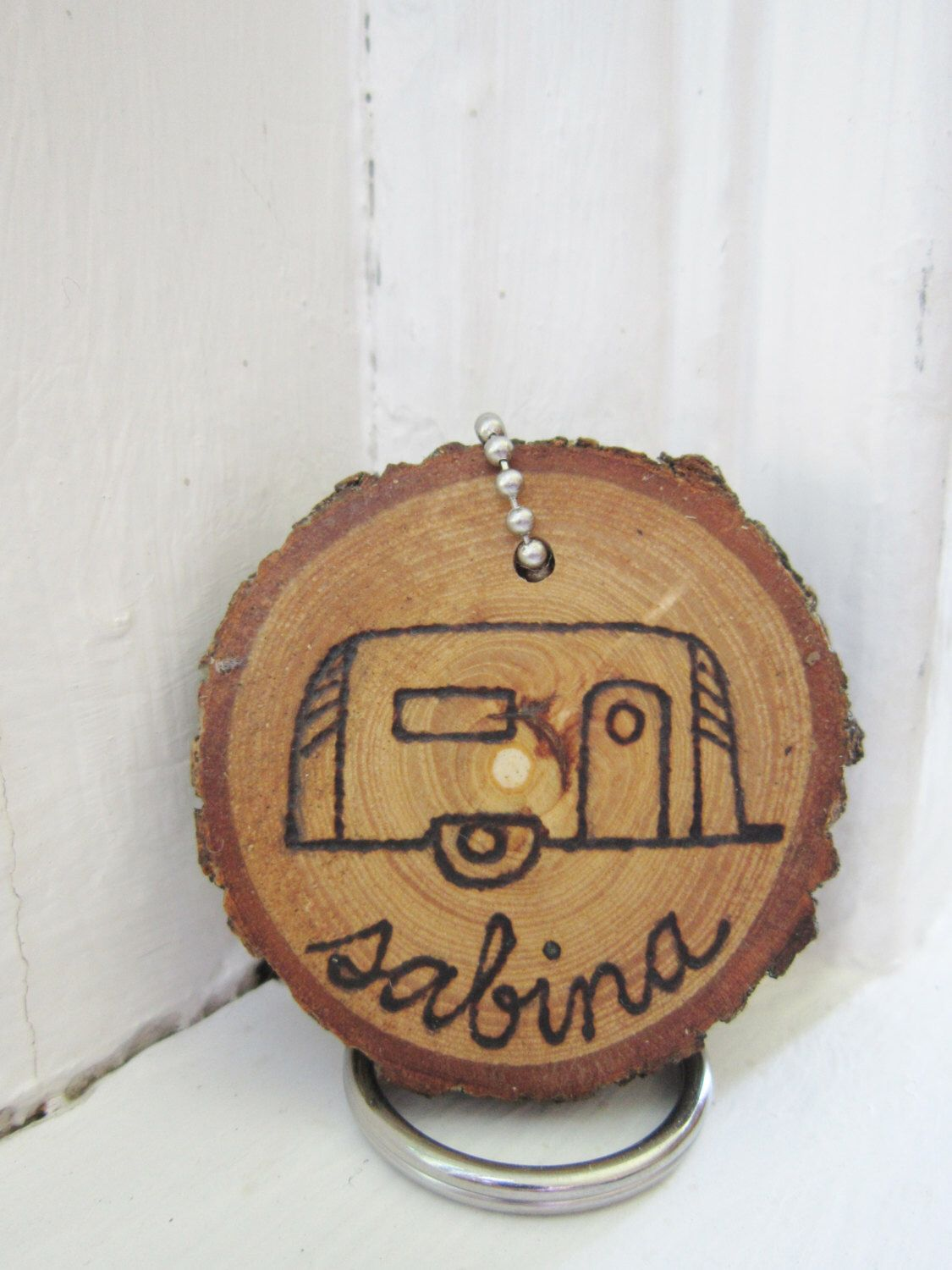 Vintage Travel Trailer Camper custom personalized key chain or ornament. Hand-burned on a wood slice-- Airstream Shasta Canned Ham Teardrop by averyrayne on Etsy https://www.etsy.com/listing/167399198/vintage-travel-trailer-camper-custom