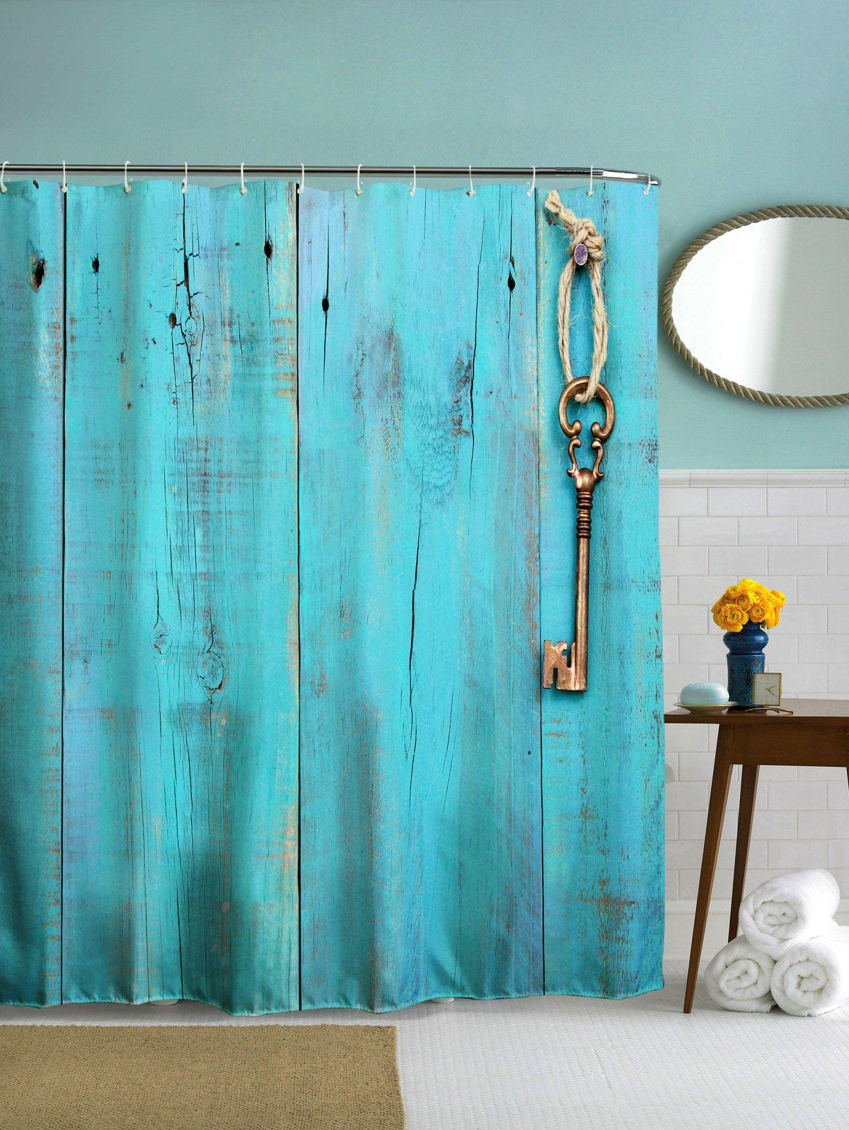 Polyester Shower Curtain with Hooks For Bathroom | Bathroom stuff ...