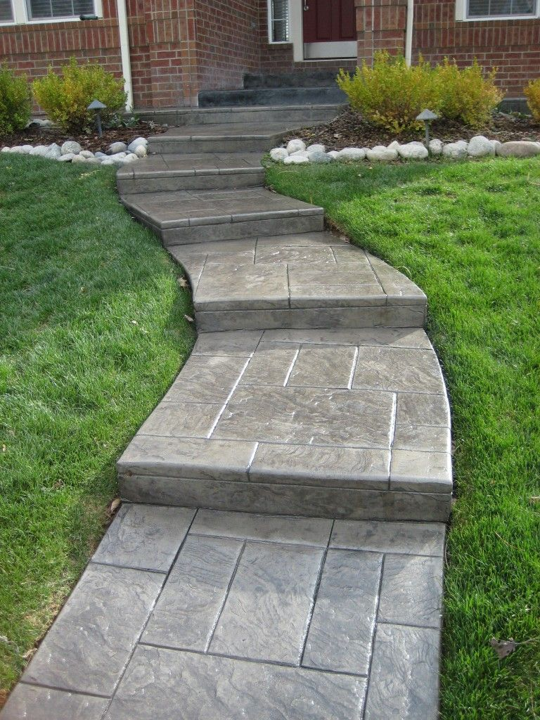 curved stamped front steps curved stamped front steps PatioWalkway Pinterest
