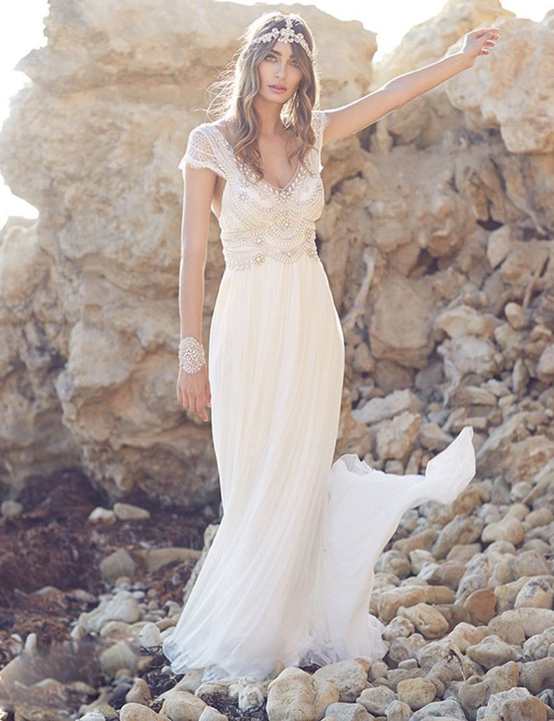 c532f148cff 2018 Backless Chiffon Beach Wedding Dresses Short Sleeves Lace Boho Bridal  Gowns in Clothing
