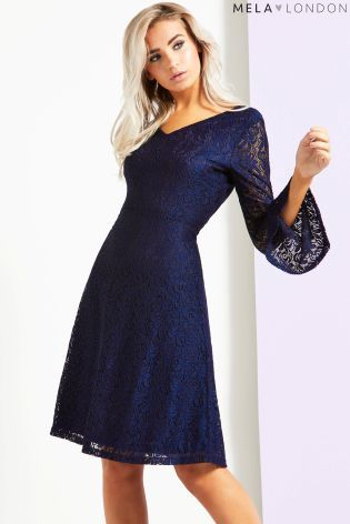 72c286eeb7e57 Buy Mela London Bell Sleeve Lace Fit And Flare Dress from the Next UK  online shop