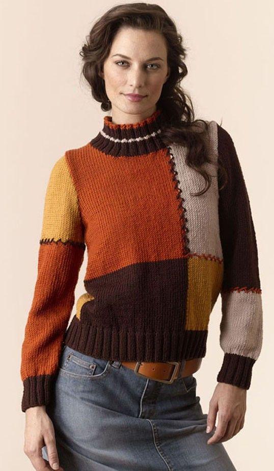 Torino Colorblock Pullover - free pattern   solo tejidos   Pinterest ...