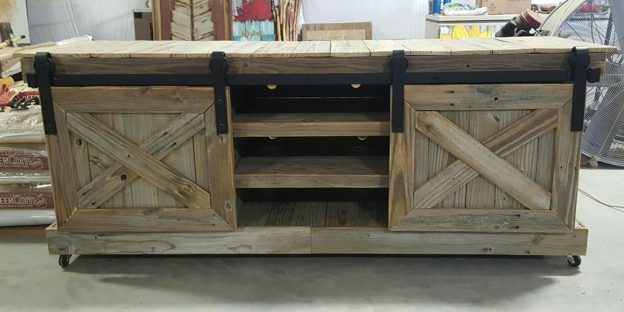 Diy TV Stand with barn doors using reclaimed wood Diy