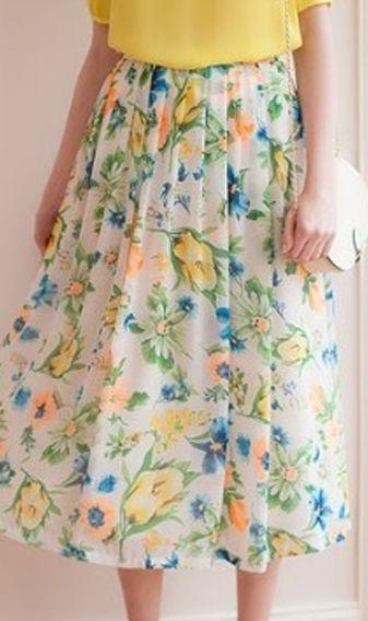 Elegant flower print pleated dress  TM22554 White