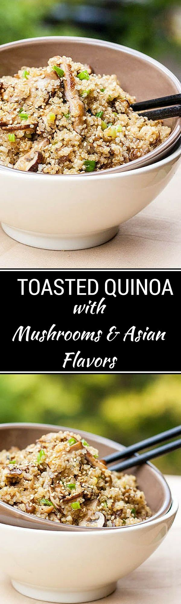 Toasted Quinoa with Mushrooms and Asian Flavors - This healthy vegan quinoa recipe is packed with flavor.  - WendyPolisi.com