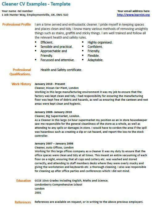 Cleaner Cv Example Learnist Org Cv Examples Resume Examples Free Resume Samples