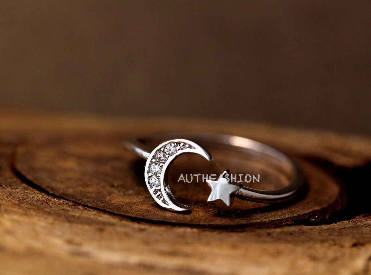 Simple crescent moon star ring adjustable open ring silver plated