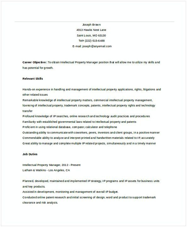 Intellectual Property Manager Resume , Assistant Property Manager ...