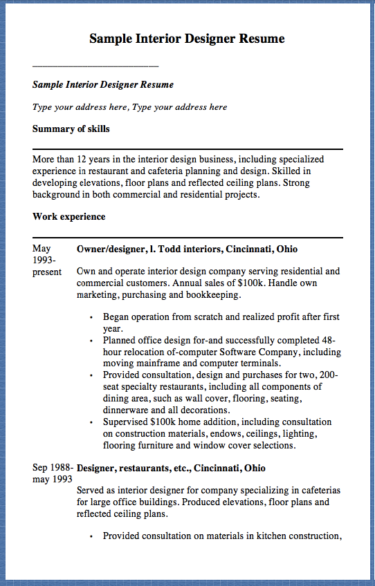 free resume samples