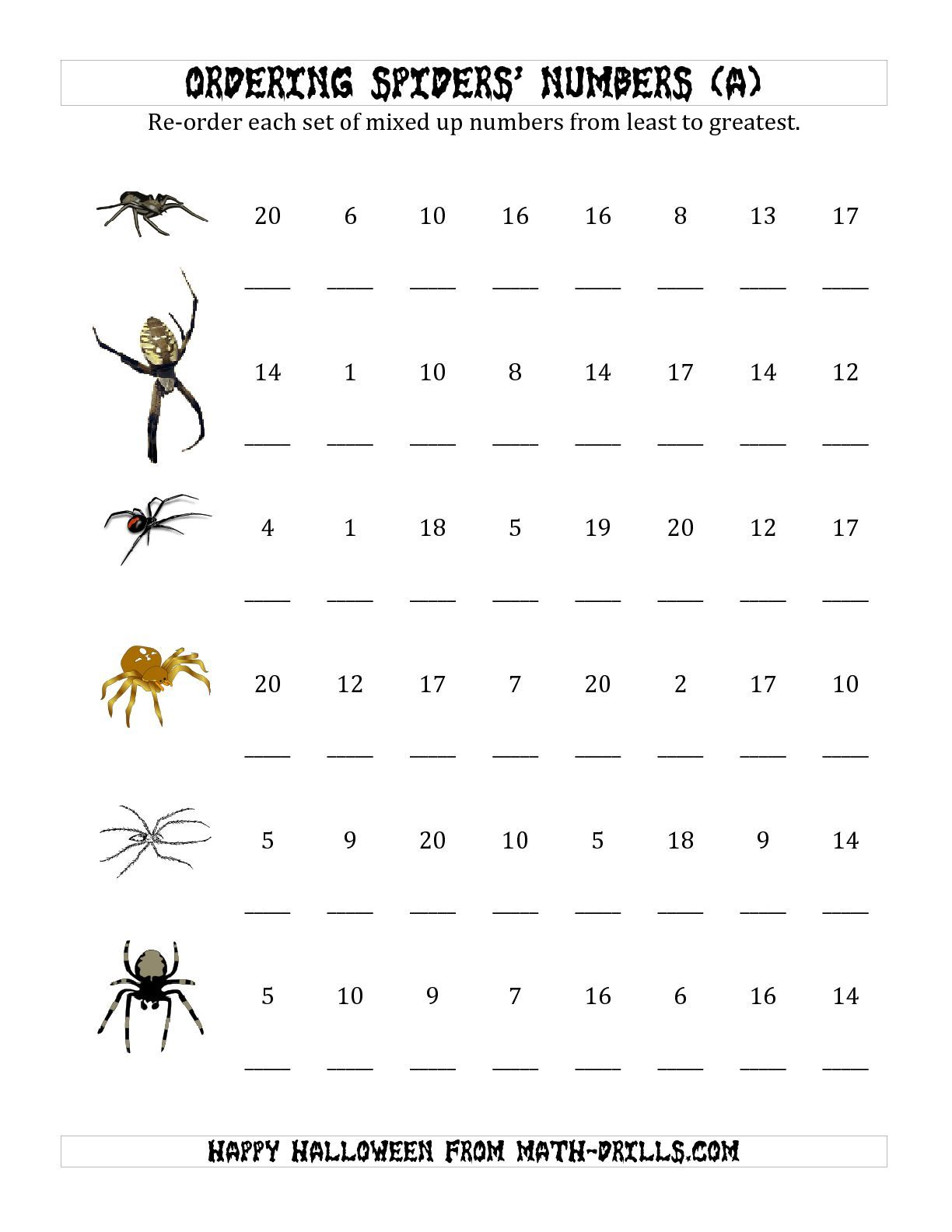 The Ordering Halloween Spiders Number Sets To 20 A Math