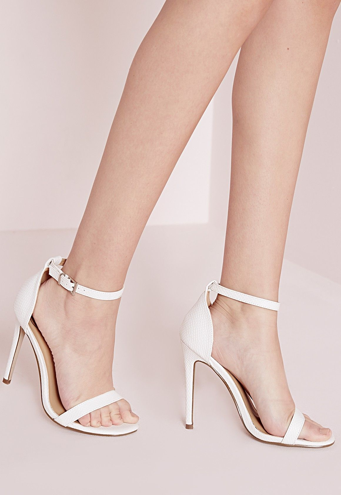 3f76104dc7acc Missguided - Barely There Strappy Heeled Sandals White Croc 42.50 ...