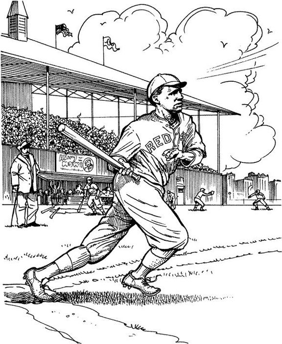 Merveilleux Red Sox Batter Baseball Coloring Page | Purple Kitty