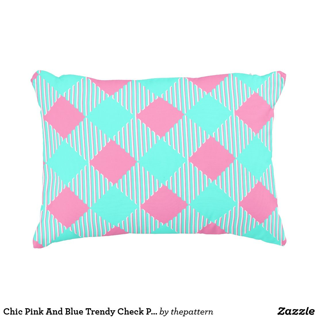 Chic pink and blue trendy check pattern decorative pillow in